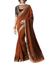 brown georgette bordered saree -  online shopping for Sarees