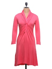 Solid Pink Viscose Jersey Dress - By