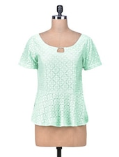 Green Lace Fabric Lace Peplum Top - By