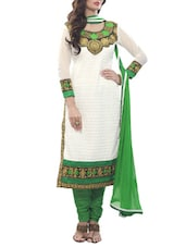 White And Green Embroidered Georgette Unstitched Suit Set - By