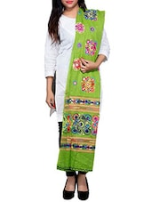 Green Embroidered Printed Dupatta - By