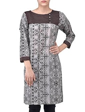 Brown Cotton Printed Three Quarter Sleeves Kurti - By