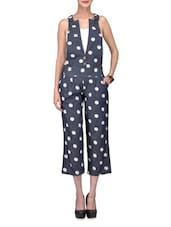 Navy Blue Polka Dotted Cotton Denim Dangree - By