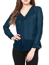 Green Georgette Front Ruffle Top -  online shopping for Tops