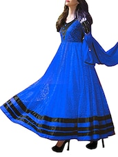 Royal Blue Net Brasso Anarkali Semi-Stitched Dress Material - By