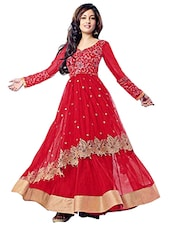 Red Net Anarkali Semi-Stitched Dress Material - By