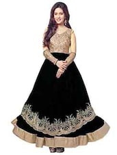 Black And Gold Net Anarkali Semi-Stitched Dress Material - By