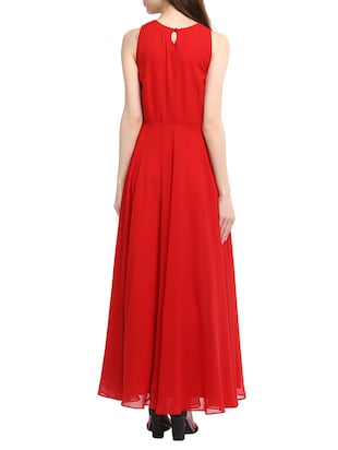 red georgette gown - 13064506 - Standard Image - 3