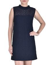 Black Polyester Plain Shift Dress - By