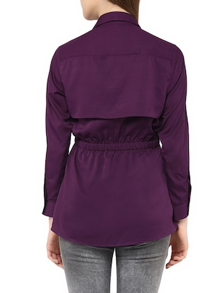 purple crepe summer jacket - 13065169 - Standard Image - 3