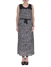 Grey Georgette Printed Party Wear Dress - By