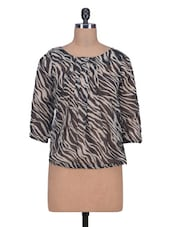 Multicolored Polyester Printed Top - By