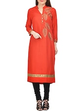 Red Rayon Straight Embroidered Kurta - By