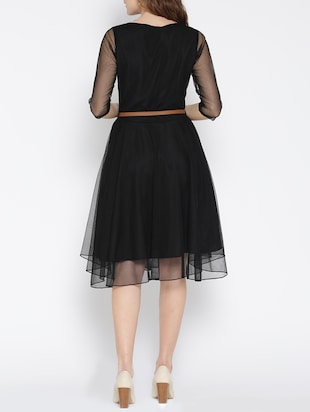 black net fit & flare dress - 13073861 - Standard Image - 3