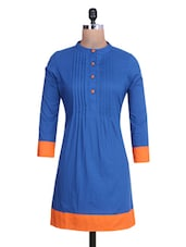 Royal Blue Cotton A-Line Kurta - By