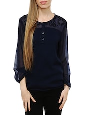 navy blue georgette top -  online shopping for Tops