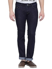 solid navy blue cotton slim jeans -  online shopping for Jeans