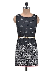 Black Bird Printed Poly-Crepe Short Dress - By