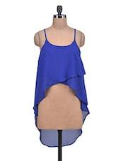 Royal Blue Poly-Georgette Hi-Lo Crop Top - By