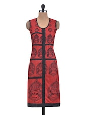 Red And Black Cotton Printed Kurta - By
