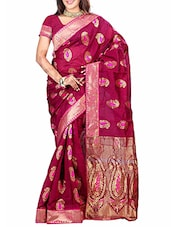 Pink Banarasi Silk Saree - By