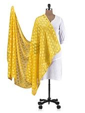 Yellow Chiffon Embroidered Dupatta - By