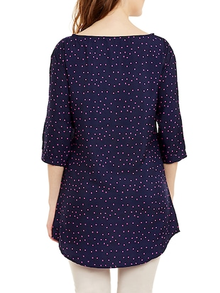navy blue crepe printed tunic - 13108725 - Standard Image - 3