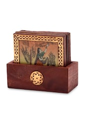 Brown Wooden Painted Tea Coasters And Holder - By