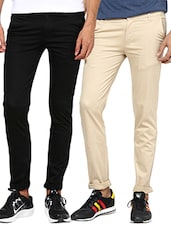black beige set of 2 cotton chinos casual trouser -  online shopping for Casual Trousers