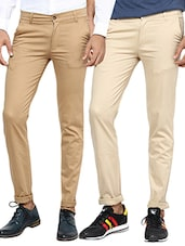 beige set of 2 cotton chinos casual trouser -  online shopping for Casual Trousers