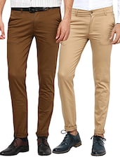 brown beige set of 2 cotton chinos casual trouser -  online shopping for Casual Trousers