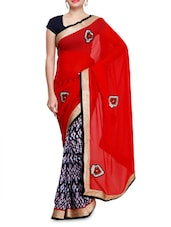 Multicolored Printed Georgette Sari With Applique Work - By