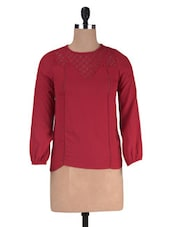 Red Crepe Solid Long Sleeved Top - By