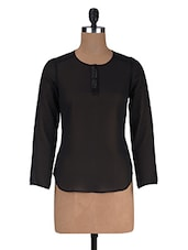 Black Polyester Solid Long Sleeved Top - By