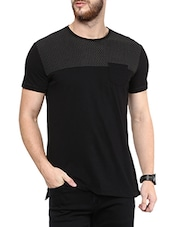 black cotton chest print t-shirt -  online shopping for T-Shirts
