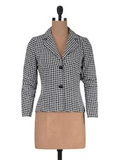 Black Poly Crepe Hounds Tooth Long Sleeved Jacket - By