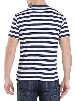 navy blue cotton striped t-shirt - 13120799 - Standard Image - 3