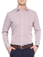 red cotton striped formal shirt -  online shopping for formal shirts