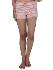 Multicolor Striped Cotton Jersey Shorts - By