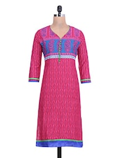Red Cotton Printed V Necked Kurti - By