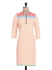 White Cotton Polka Dot Printed  Kurta - By