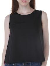 Black Georgette Lace Swing Top - By