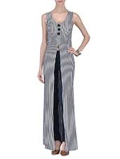 White And Black Polyspandex Striped Dress - By