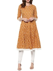 Brown Cotton Block Printed A-line Kurta - By