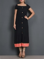 Black Cotton Long Kurta With Embroidered Hem - By
