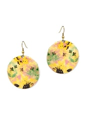 Yellow Brass Printed Earrings - By