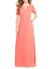 Pink Poly Georgette Laced Sleeveless Maxi - By