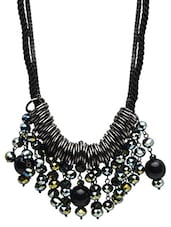 Black Beaded Metallic Drop Necklace - By