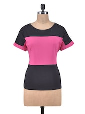 Pink And Black Cotton Top - By