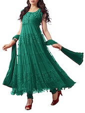 Teal Green Net Brasso Anarkali Dress Material - By
